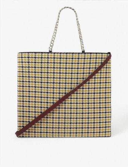 VICTORIA BECKHAM Tweed and leather tote in mustard-black/bordeaux - flipped