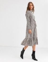 Vila ditsy floral prairie midi dress with tie waist / frill hem dresses
