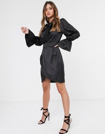 Vila satin mini dress in black with pussy bow   LBD - flipped
