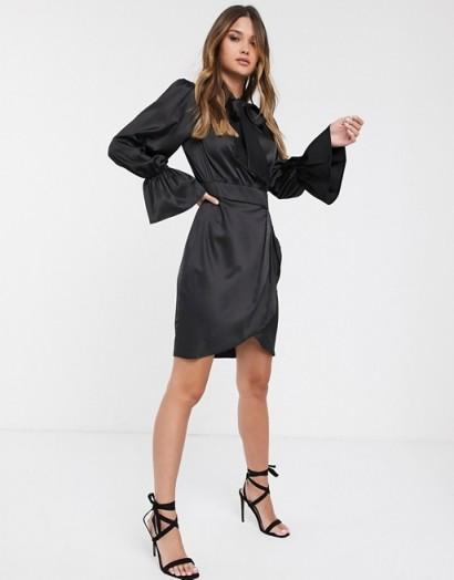 Vila satin mini dress in black with pussy bow   LBD