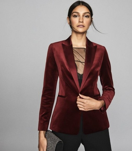 REISS VIXENA VELVET BLAZER CLARET ~ luxe evening jacket - flipped