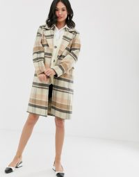 Wednesday's Girl longline wool coat in brown check / classic checked coats