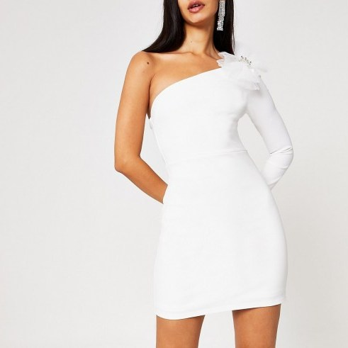 River Island White one sleeve bow bodycon mini dress | lwd - flipped