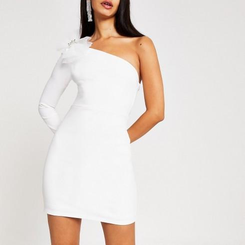 River Island White one sleeve bow bodycon mini dress | lwd