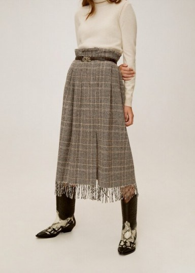 MANGO Wool fringed skirt – REF. 51065029-INDIA-LM - flipped