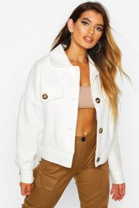 boohoo Wool Look Oversized Trucker Jacket in Ivory – affordable luxe style fashion