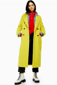 Topshop Yellow Coat With Wool | vibrant coloured coats