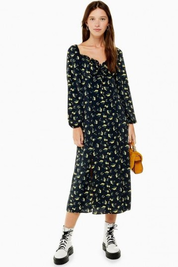 TOPSHOP Yellow Floral Print Square Neck Midi Dress in Black - flipped