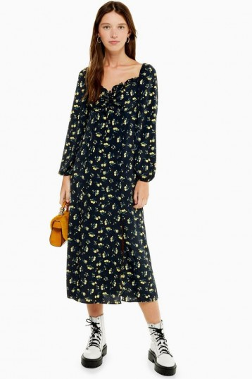 TOPSHOP Yellow Floral Print Square Neck Midi Dress in Black
