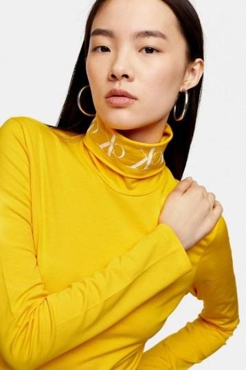 Calvin Klein Yellow Logo Roll Neck Top - flipped