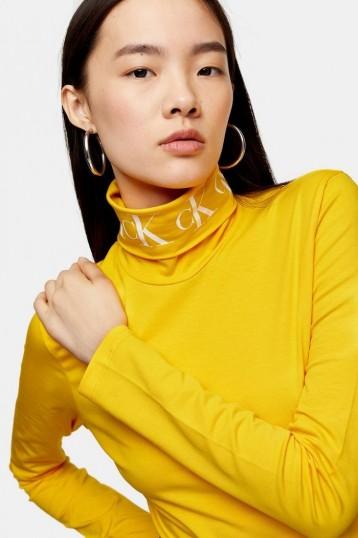 Calvin Klein Yellow Logo Roll Neck Top