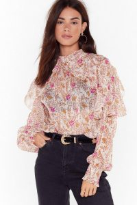 NASTY GAL You Plant Stop Us Floral High Neck Blouse / romantic fashion