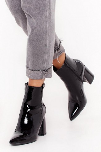 NASTY GAL Your Love Shines On Patent Faux Leather Boots in Black ~ high shine footwear