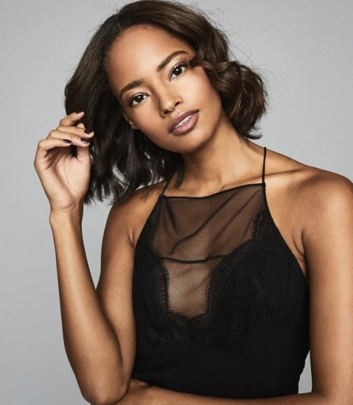 REISS ABBIE CREPE LACE CAMI BLACK ~ sheer panel camisole