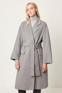French Connection AGATIMA WOOL BELTED COAT Grey Mel ~ wrap style winter coats