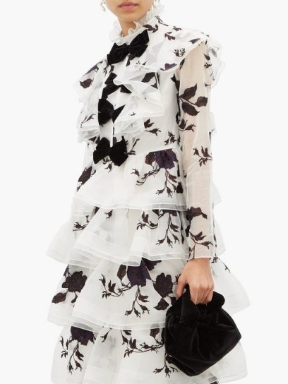 ERDEM Alcina tiered floral-embroidery silk-organza dress in white ~ feminine party dresses ~ designer occasion wear