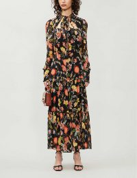ALEXIS Sabryna floral-print crepe maxi dress in black