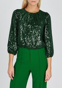 ALICE + OLIVIA Avila green sequin top ~ sparkly pleated neckline party blouse