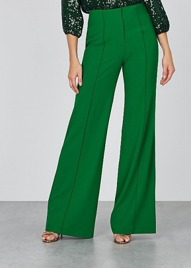 ALICE + OLIVIA Dylan green wide-leg trousers ~ party pants - flipped