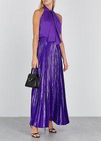 ALICE + OLIVIA Katz purple silk-blend maxi skirt / long evening event skirts