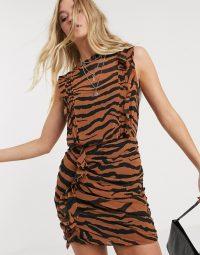 AllSaints hali zephyr tiger print mini dress in toffee brown/black