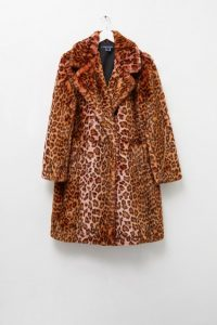 French Connection ANALIA OMBRE FAUX FUR CHEETAH COAT Rhubarb Multi ~ glam winter coats