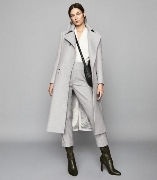 REISS ANDERS LONGLINE OVERCOAT WITH ZIP DETAIL GREY MELANGE ~ winter coats with style