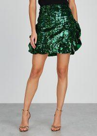 ANGELYS BALEK X Anna Dello Russo green sequin mini skirt ~ shimmering ruffled hem skirts