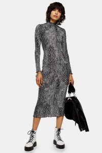 TOPSHOP Animal Cut And Sew Midi Dress