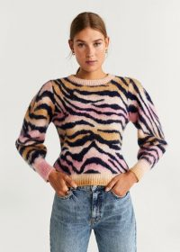 Vogue Williams striped pink jumper, MANGO Animal Print Sweater REF. 57006710-ZOEH-LM, worn on Instagram, October 2018. Celebrity knitwear | casual star fashion