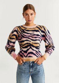 Vogue Williams striped pink jumper, MANGO Animal Print Sweater REF. 57006710-ZOEH-LM, worn on Instagram, October 2018. Celebrity knitwear | casual star fashion