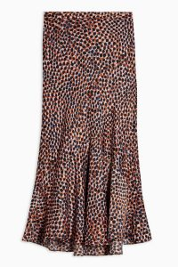 TOPSHOP Animal Satin Flounce Midi Skirt