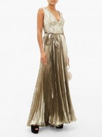 MARIA LUCIA HOHAN Arely pleated silk-blend lamé jumpsuit in silver ~ glamorous party wear
