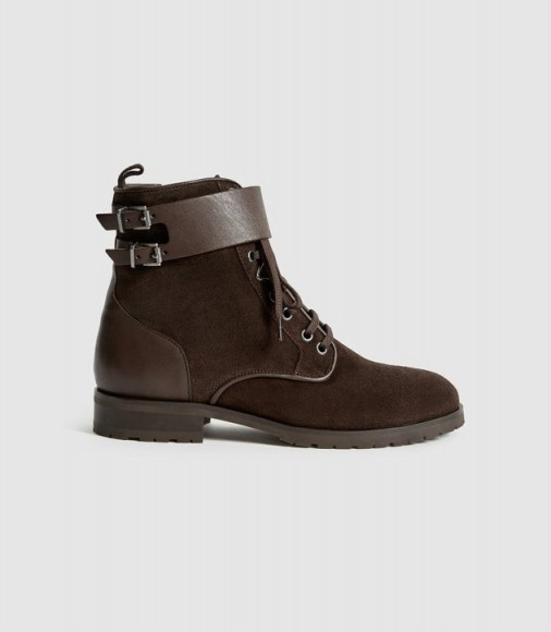 Reiss ARTEMIS SUEDE HIKER BOOTS CHOCOLATE | dark-brown winter boot