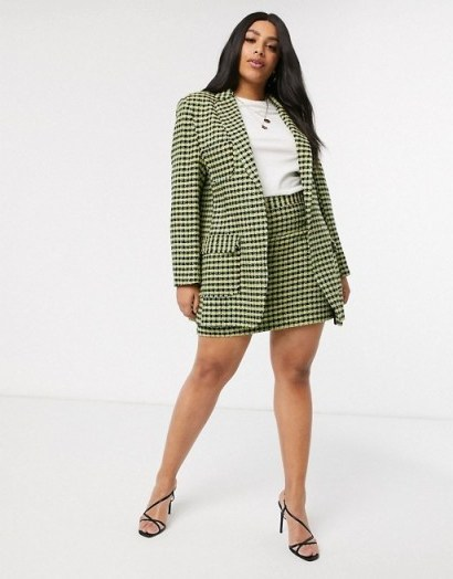 ASOS DESIGN Curve neon boucle suit / skirt and jacket suits / plus size fashion - flipped
