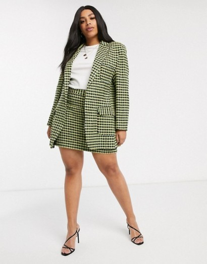 ASOS DESIGN Curve neon boucle suit / skirt and jacket suits / plus size fashion