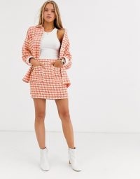 ASOS DESIGN fluro pop boucle suit / checked skirt suits