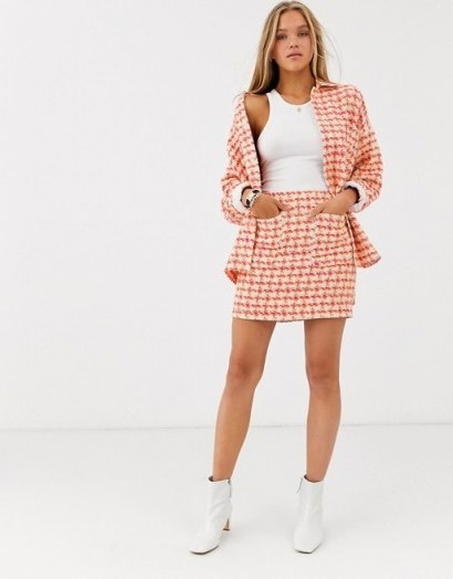 ASOS DESIGN fluro pop boucle suit / checked skirt suits - flipped