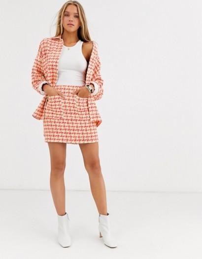 ASOS DESIGN fluro pop boucle suit / checked skirt suits