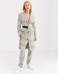 ASOS DESIGN premium check suit with bumbag / trouser suits