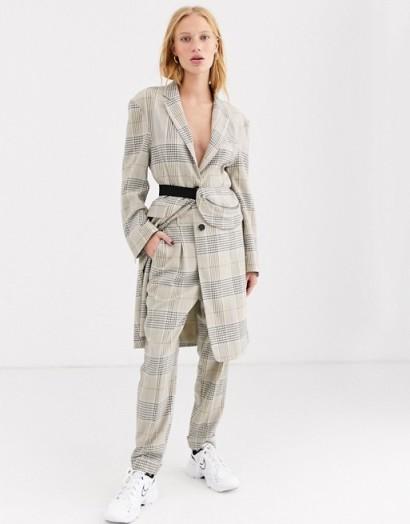 ASOS DESIGN premium check suit with bumbag / trouser suits