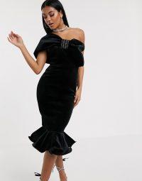 ASOS DESIGN Premium diamante bow velvet pep hem midi dress in black | vintage style evening glamour | one shoulder LBD