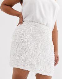 ASOS EDITION Curve beaded fringe mini skirt white – plus size going out fashion