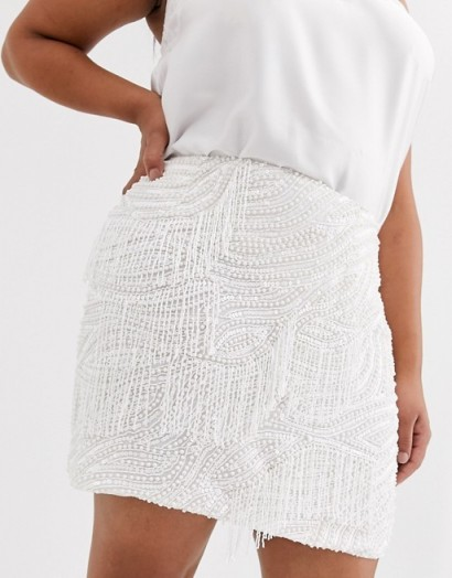 ASOS EDITION Curve beaded fringe mini skirt white – plus size going out fashion