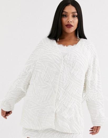 ASOS EDITION Curve beaded fringe oversized jacket white – plus size occasion jackets
