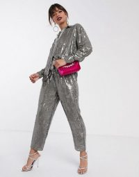 ASOS EDITION sequin shirt & jogger co-ord grey – shimmering pant suits