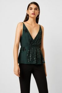 French Connection AURORA EMBELLISHED WRAP TOP Bayou Green ~ low cut sequinned occasion tops