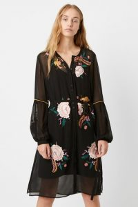 French Connection AYEE EMBROIDERED BUTTON DOWN DRESS in Black Multi