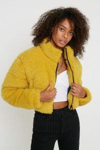 UO Faux Fur Crop Puffer Jacket in yellow