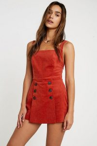 UO Daley Corduroy Playsuit in Orange – cord playsuits